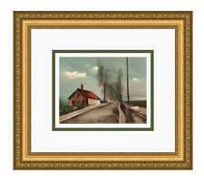 "VLAMINCK 1958 Limited Color Lithograph ""Route to Brezolles"" Framed SIGNED COA"