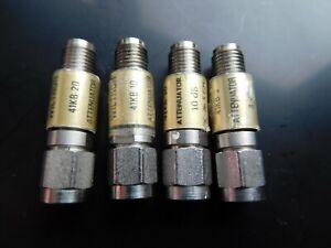 Lot of 4 Anritsu/Wiltron 41KB-xx Attenuators, 3, 2x10 & 20 dB values, 26.5GHz