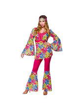 Adult 60s 70s Hippie Hippy Ladies Fancy Dress Costume Flared Feelin Groovy New