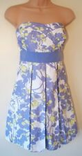 Womens Mini Dress Sized XS (6) New Ladies Lavender Blue Ecru print Pleated Party