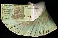 500 Thousand Zimbabwe Dollars x 50 Banknotes AA AB AC 2008 50PCS of 1/2 Million