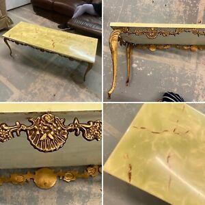 🌟Vintage Hollywood Regency Table Green Onyx & Brass Style Ornate Long