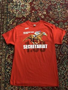 SECRETARIAT TRACK RECORD MENS SHIRT RED KENTUCKY DERBY NWT LARGE (Last Ones)