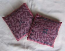"PAIR OF VINTAGE HMONG HAND MADE APPLIQUÉ PILLOW COVERS - 15"" x 15"""