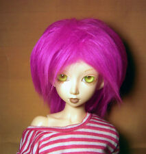 Hot pink fake fur size 6-7 wig for Minifee, 1/4 bjd DOLL