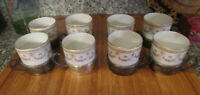 Set of 8 VINTAGE DEMITASSE PORCELAIN CUPS WITH METAL HOLDERS
