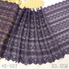 "1 Yard Purple Stretch Lace Trim Retro For DIY Craft Lingerie Wide 9 1/4"""
