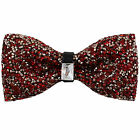 New in box Brand Q Men's Crystal blink Pre-tied Bow Tie Red Prom Formal