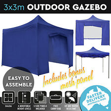 New 3x3 Pop Up Outdoor Gazebo Folding Tent Party Marquee Shade Canopy White Blue