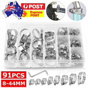 91X Stainless Steel Hose Clamps Clips Adjustable Range Worm Gear Pipe Clamp Kits