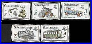 Czechoslovakia, 1988 PRAGA Stamp EXPO Sc#2656-60  MNH TRAINS, TELEPHONE