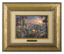 Thomas Kinkade Lady and the Tramp Framed Brushwork (Gold Frame)