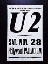 U2 At The Hollywood Palladium - Original Vintage Rock Concert Promotion Poster