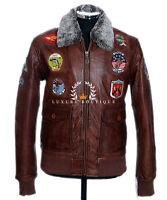 Top Gun Men's Vintage Brown Retro Fur Collar Real Cowhide Leather Pilot Jacket