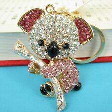Koala Pink Bear Tree Charm Cute Pendent Crystal Purse Bag Keyring Key Chain Gift