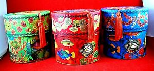 Punch Studios round storage boxes with tassel under the sea theme 3-set NEW