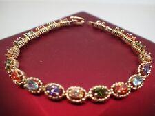 Or jaune 18 carats solide 5mm coloré ovale pierres précieuses bracelet 8 '