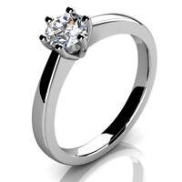 UK Hallmarked 18k White Gold 0.55ct Round Diamond Solitaire Engagement Ring