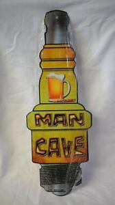 "Man Cave Spark Plug Metal Novelty Sign 17"" x 6"" Bar Garage Shop Wall Decor"