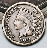 1862 Indian Head Cent Penny 1C CN Ungraded Good Civil War Date US Coin CC6981