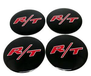 4x dodge chrystler jeep R/T SRT RT center Stickers Caps 56mm Hub Wheel black Red