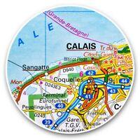 2 x Vinyl Stickers 20cm  - Calais City France French Travel Map  #44504