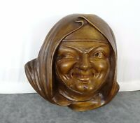 Large Antique French Hand Carved Walnut Wood Sculpture Woman Head Signed