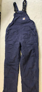 Carhartt Black FR Flame Resistant Bib Overalls Straight Leg Men Size 40x31