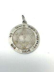 Very Nice Vintage Sterling Silver 925 Religious Design Necklace Pendant #1524