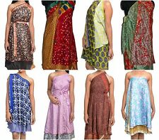 10 PC INDIAN SILK WRAP AROUND SKIRT REVERSIBLE SARONG DRESS / SKIRTS - PLUS SIZE