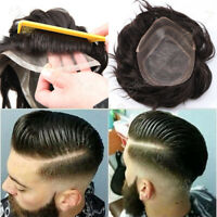 Invisible Mens Hair Replacement System Toupee Hairpiece Front Lace Thin Skin USA