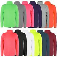KIDS LONG SLEEVE PLAIN TURTLENECK BASIC JERSEY POLO TOP GIRLS BOYS TOPS 1-14 Y