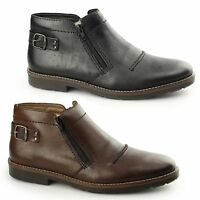 Rieker 35362-25 Mens Luxury Leather Twin Zip Lambswool Warm Lined Ankle Boots