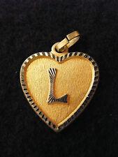 Pendentif Coeur Médaillon en Or Plaqué Lettre L 2 cm