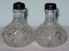 Antique EAPG Clear Glass Salt & Pepper Shakers w/Sterling Tops, Fan Design