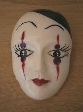 VINTAGE 1970s LARGE HAND PAINTED PIERROT CLOWN FACE MASK BROOCH BIBA BUS STOP?