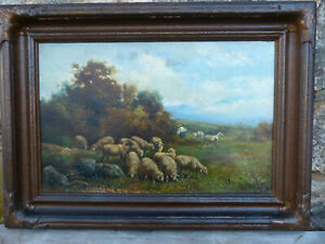 Fine Charles T. Phelan b.1840 Sheep Landscape Painting Listed New York Artist