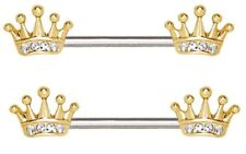 CROWN nipple bar PAIR 2 14G jewelry ring gold plated stainless steel piercing