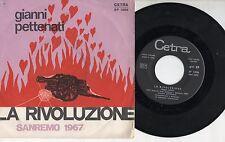 GIANNI PETTENATI disco 45 giri MADE in ITALY 1967 SANREMO La rivoluzione