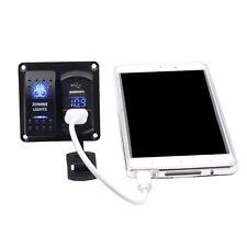 LED Rocker Switch Panel 12V Car Boat Marine Breaker USB Cigarette Lighter
