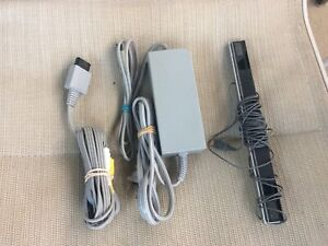 Nintendo Wii OEM AC Power Adapter Cord, Wired Sensor Bar & AV Cable TESTED!!