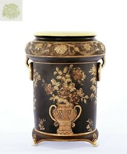 Japanese Nippon Hand Paint Porcelain Black Ground Gold Moriage Vase Urn Jar Mk