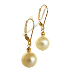 9-10mm Australian South Sea White Pearl 14K Yellow Gold Lever Back Earrings