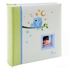 Kusso Children's Photo Album Personalised with Blue Sleepy Owl Design 200 Photos
