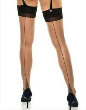 Classified Cuban Heel Stockings - Natural with Black Seam - One Size #23D348