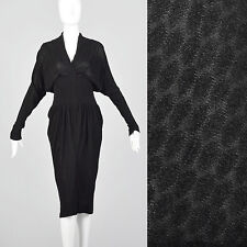 XS 1950s Black Dolman Sleeve Dress Unique Texture Hobble Skirt Fetish Bombshell
