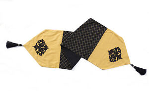 Black And Gold Embroidered Table Runner Table Placemats Table cloth