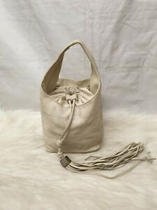 Authentic Chanel Leather Hobo Bucket Tassle Stitched Bag off white colour