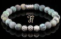 Afrik. Türkis Armband Bracelet Perlenarmband Silber Beads Buddha grün matt 8mm