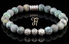 Afrik. Turquoise Bracelet de Perles en Argent Buddha Vert Mat
